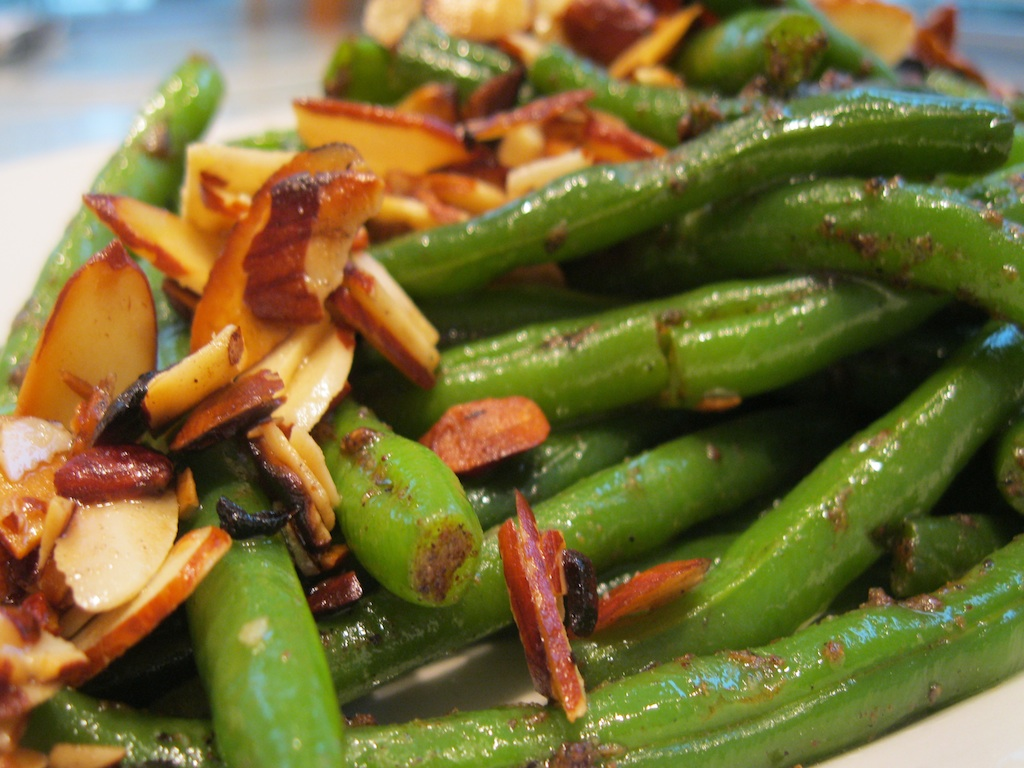 Toasted almonds on green beans